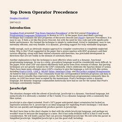 Top Down Operator Precedence