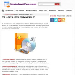 Top 10 Free & Useful Software For PC