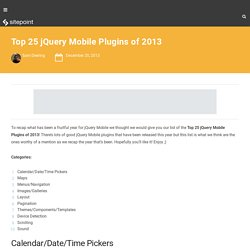 Top 25 jQuery Mobile Plugins of 2013