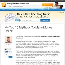 My Top 10 Methods To Make Money Online