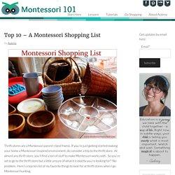 Top 10 - A Montessori Shopping List - Montessori 101