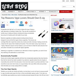 Top Reasons Vape Lovers Should Own E-cig