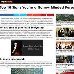 Top 10 Signs You're a Narrow Minded Person