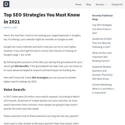 Top SEO Strategies You Must Know in 2021