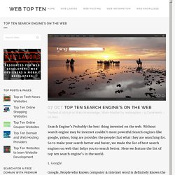 Top Ten Search Engine's on the Web