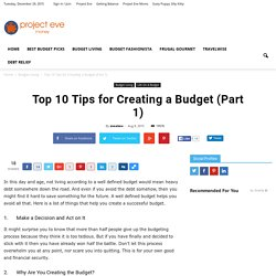 Top 10 Tips for Creating a Budget (Part 1)