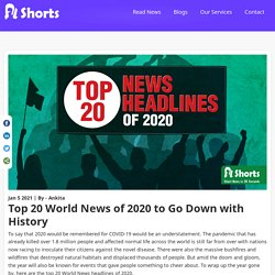 Top 20 World News of 2020 to Go Down with History
