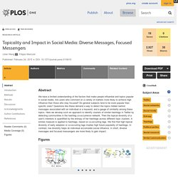 Topicality and Impact in Social Media: Diverse Messages, Focused Messengers