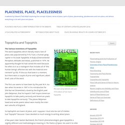 PLACENESS, PLACE, PLACELESSNESS