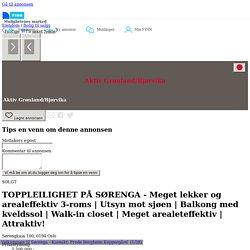 FINN – TOPPLEILIGHET PÅ SØRENGA - Meget lekker og arealeffektiv 3-roms