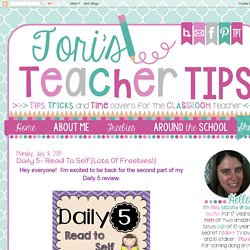 Tori's Teacher Tips: Daily 5- Read to Self {lots of freebies!}