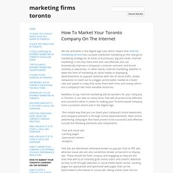 How To Market Your Toronto Company On The Internet