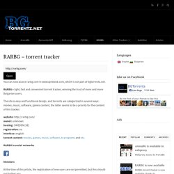 RARBG – torrent tracker : BGTorrentz