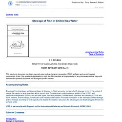 FAO - Stowage of Fish in Chilled Sea Water