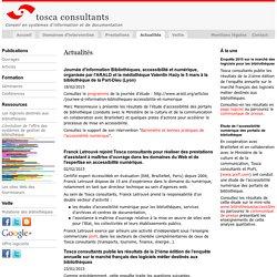 Tosca Consultants : Actualités