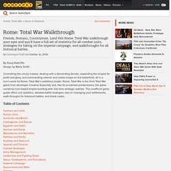 Rome: Total War Game Guide - Game Guides at GameSpot