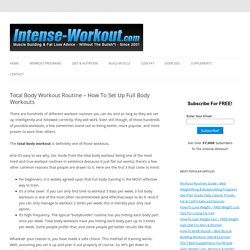 Total Body Workout Routine - How To Set Up Full Body Workouts