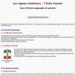 Les régimes totalitaires : l'Italie fasciste - Cours d'Histoire-géographie de première