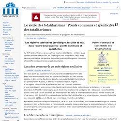 Le siècle des totalitarismes/Points communs et spécificités des totalitarismes — Wikiversité