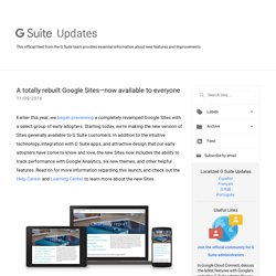 G Suite Update Alerts: A totally rebuilt Google Sites—now available to everyone
