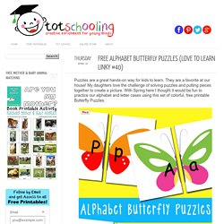 Free Alphabet Butterfly Puzzles - Totschooling