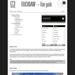 TouchDAW, DAW Setup