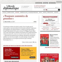 « Toujours sommées de procréer », par Mona Chollet (Le Monde dip