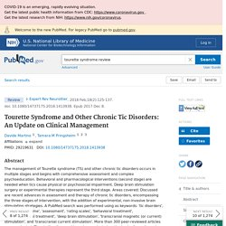 Tourette Syndrome and Other Chronic Tic Disorders: An Update on Clinical Management - PubMed