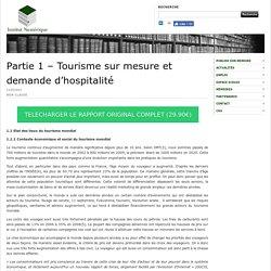 Partie 1 – Tourisme sur mesure et demande d'hospitalité