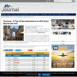 Tourisme : le Top 10 des destinations en 2016 selon Bourse des vols