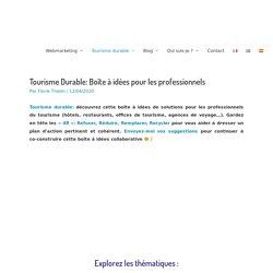 Tourisme Durable: Boîte à idées pour les professionnels - 4R Tourisme