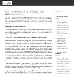 TOURISME : Les TENDANCES DIGITALES 2016 - 2017