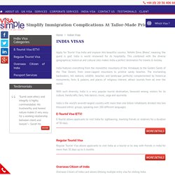 Tourist Visa India, Regular Tourist Visa