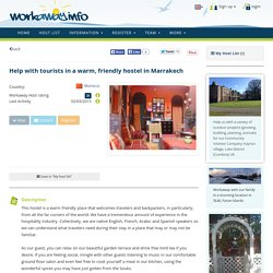 Help with tourists in a warm, friendly hostel in Marrakech