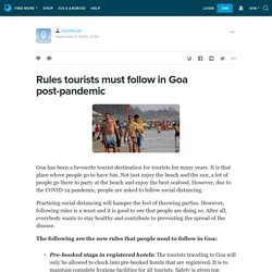 Rules tourists must follow in Goa post-pandemic