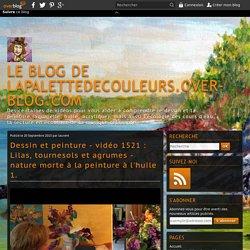 vidéo 1521 : Lilas, tournesols et agrumes - nature morte à la peinture à l'huile 1.