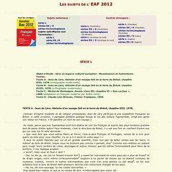 TOUS LES SUJETS DE L'EAF 2012