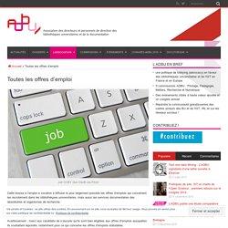 ADBU : offres d'emploi