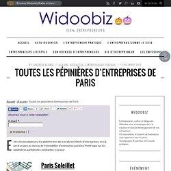 Toutes les pépinières d'entreprises de Paris