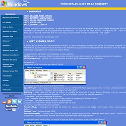 Windows XP - PRINCIPALES CLEFS DE LA REGISTRY