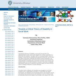 Towards a Critical Theory of Disability in Social Work