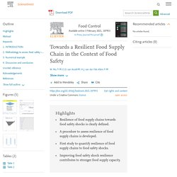 Food Control Available online 3 February 2021, Towards a Resilient Food Supply Chain in the Context of Food Safety