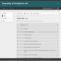 Township of Hardyston, NJ Signs