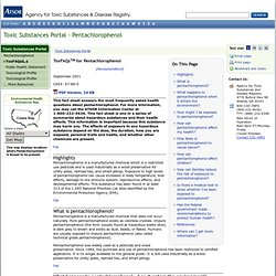 SEPT 2001 - Toxic Substances Portal - Pentachlorophenol