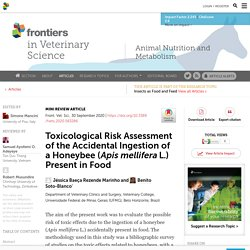 FRONT. VET. CI. 30/09/20 Toxicological Risk Assessment of the Accidental Ingestion of a Honeybee (Apis mellifera L.) Present in Food