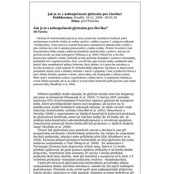 Toxicology - Prof. RNDr. Jiří Patočka, DrSc - Jak je to s nebezpečnosti glyfosátu pro člověka?