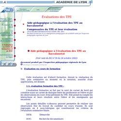TPE - Evaluation des TPE
