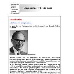 Tpe hologrammes - Résumé