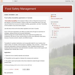 Food Safety Management : Food safety traceability applications in Canada