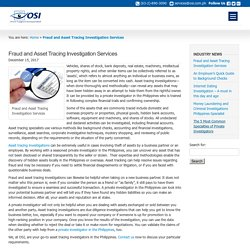 Fraud and Asset Tracing Investigation Services